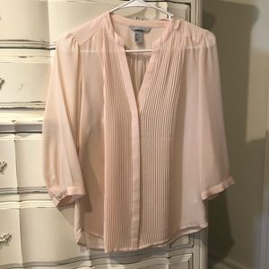H&M Sheer Pink Button Up Blouse